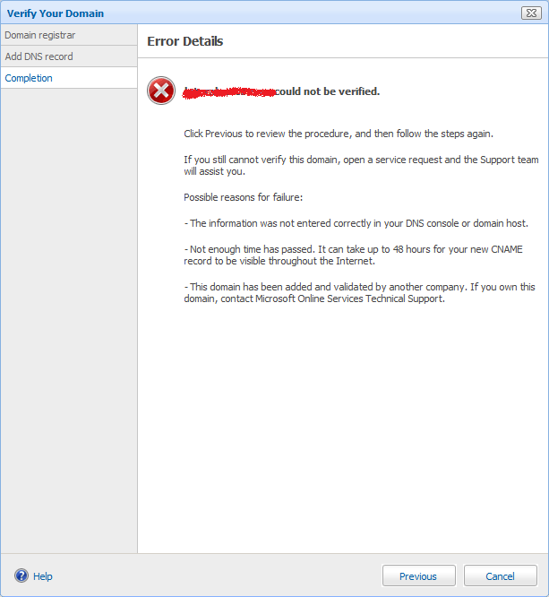 Domain Verification Error